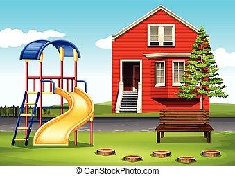 lekplatsen, hus, främre del