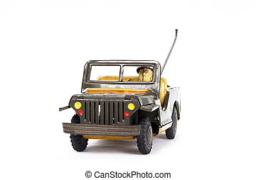 leksak, årgång, bakgrund, bil, militär, vit