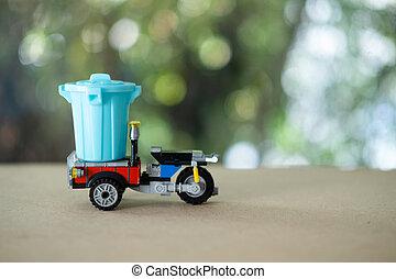 leksak, avlastning, garbage., trehjuling, ladda, miniatyr, car: