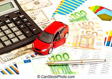 leksak bil, pengar, och, annat, affär, personal