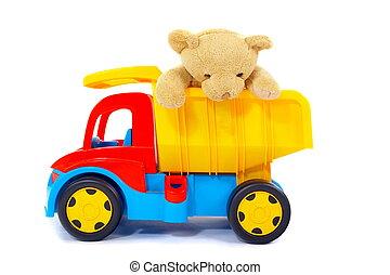 leksak, björn, och, lastbil