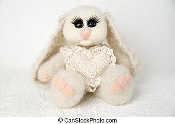 leksak, kanin, med, hjärta