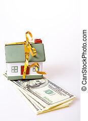 leksak, litet hus, med, a, guld, bow., den, begrepp, av, inköp, och, försäljning, av, habitation.