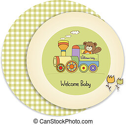 leksak, nallebjörn, skur, tåg, baby, kort