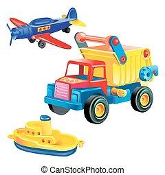 leksak, skepp, infrastruktur, plan, -, begrepp, lastbil, bakgrund, vit, transport