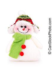 leksak, snögubbe, in, den, mössa, med, scarf