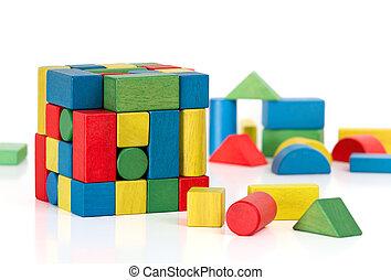 leksak spärrar, kontursåg, kub, flerfärgad, puzzlen lappar, över, vit fond