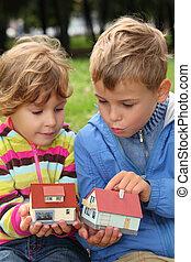 leksak, utomhus, lille barn, räcker, hus