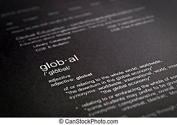 leksikon, definition, i, den, glose, globale