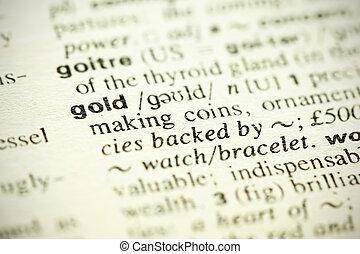 """leksikon, definition, i, den, glose, """"gold"""", ind, engelsk"""