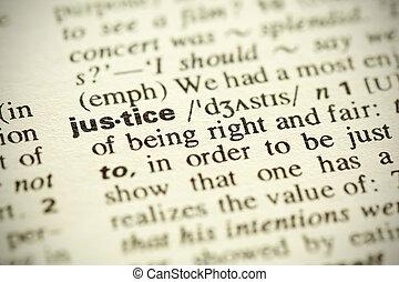 """leksikon, definition, i, den, glose, """"justice"""", ind, engelsk"""