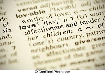 """leksikon, definition, i, den, glose, """"love"""", ind, engelsk"""