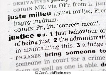 leksikon, definition, i, retfærdighed