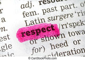 leksikon, definition, respekt