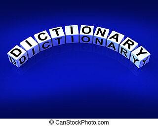 leksikon, terninger, betyder, meanings, i, gloser, og,...