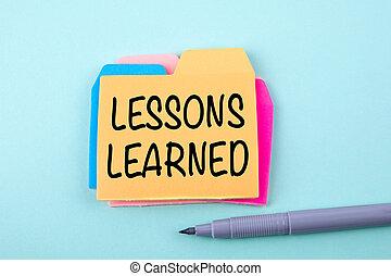 lektion, learned., utbildning, begrepp