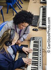lektion, musik, lernen, tastatur