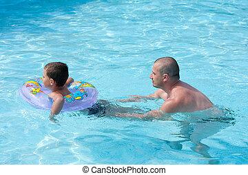 lektion, schwimmender