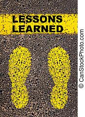 lektionen, message., gelernt, begriffliches abbild