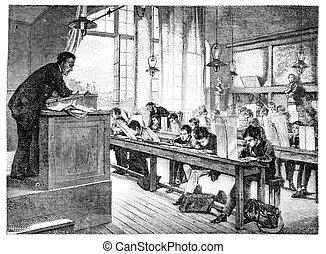 lektionen, salon, hernault, weinlese, -, schule, truphème.,...