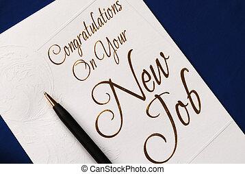 lelet, új állás, gratuláció