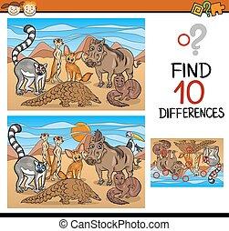 lelet, játék, különbségek, karikatúra