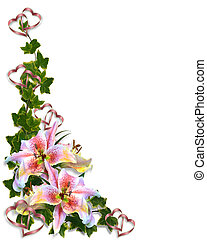 lelie, floral, huwelijk uitnodiging