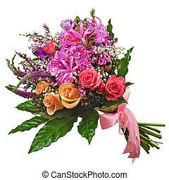 lelies, bouquetten, vrijstaand, achtergrond., rozen, floral, witte , orchids, closeup.