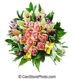 lelies, bouquetten, vrijstaand, regeling, middenstuk, achtergrond., rozen, floral, witte , orchids, closeup.