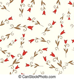 lelies, tulpen, seamless, stylized, achtergrondmodel, witte , of