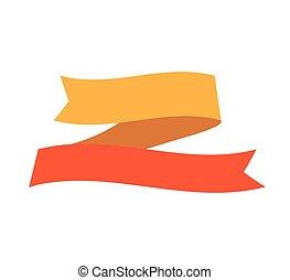 lem, zbabělý, pomeranč, prapor, icon., vektor, grafický