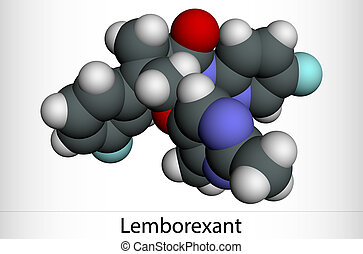 Lemborexant, C22H20F2N4O2 molecule. It is dual orexin receptor antagonist used in the treatment of insomnia. Molecular model