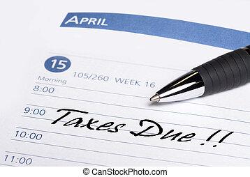 lembrete, datebook, devido, impostos