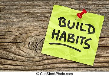 lembrete, hábitos, construir