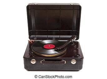 lemezjátszó, hordozható, retro