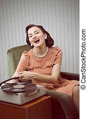 lemezjátszó, nő, zene, fiatal, kihallgatás