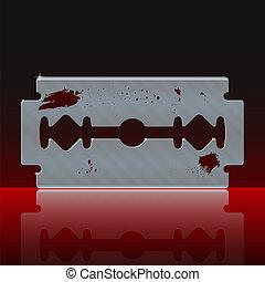 lemmet, bevlekte, scheermes, bloed
