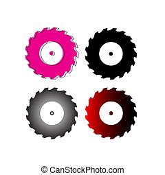 lemmet, vector, zaag, circulaire