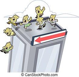 lemmings, edificio, saltar lejos