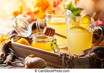 Lemon and ginger tea with honey