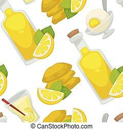 Lemon and lemonade, oil in glass bottle seamless pattern