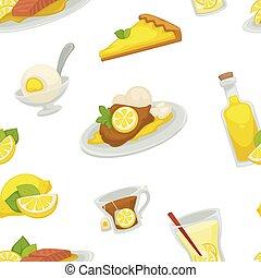 Lemon and lemonade, oil in glass bottle seamless pattern isolated on white background vector.
