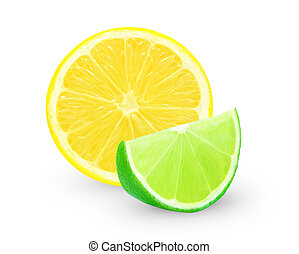 lemon and lime slice on a white background