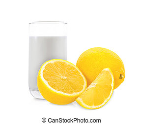 lemon and milk in the glass isolated on white background