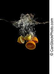 lemon and orange in water