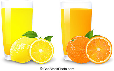 Lemon And Orange Juice And Slices Of Orange