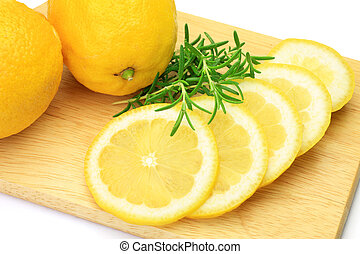 lemon and rosemary - I took a lemon and a rosemary on a ...