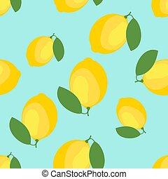 Lemon and sliced lemon vector pattern background.