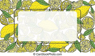 Lemon background with place for text. Hand drawn of yellow lemon fruit with leaves. Vector illustration.