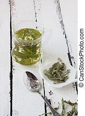 lemon balm tea on a white background